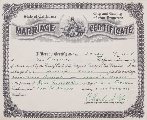 How To Get A Marriage License With Pictures: Marilyn Monroe & Joe DiMaggio's Marriage Certificate Is